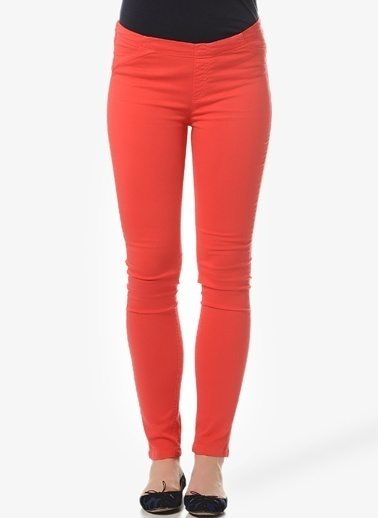 Asymmetry Slim Fit Pantolon Kırmızı